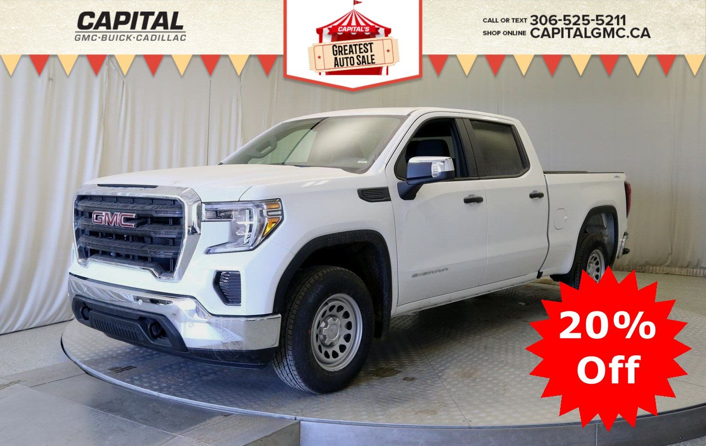 New 2019 GMC Sierra 1500 Crew Cab*4x4-Trailer Pkg with Trailer Brake Controller-Front & Rear Chrome Bumpers*